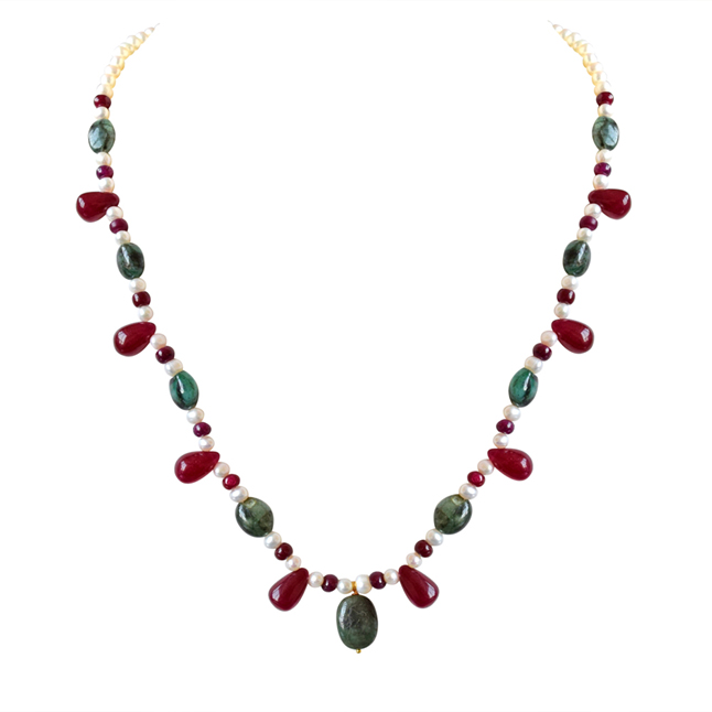 Real Oval Green Emerald, Red Drop Ruby & Beads & Freshwater Pearl Necklace Earring Set for Women (SN689)