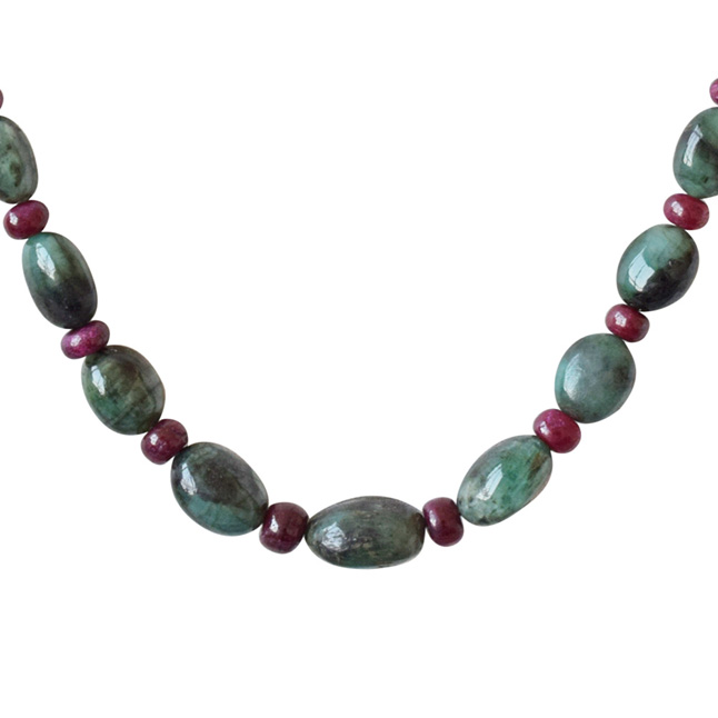 Real Oval Green Emerald & Red Ruby Beads Necklace Earring Set for Women (SN691)