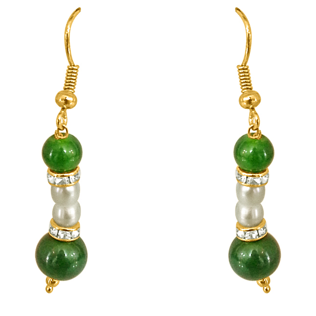 Real Pearl & Green Stone Earrings