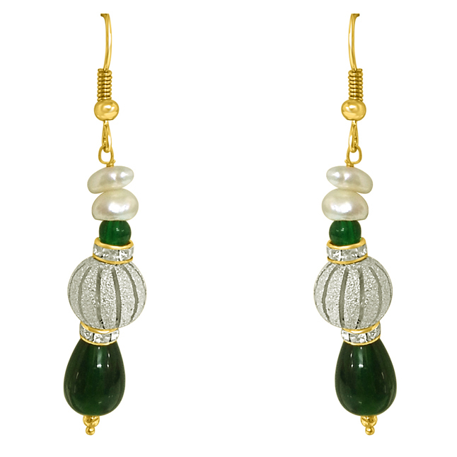 Real Pearl & Green Stone Hanging Earrings