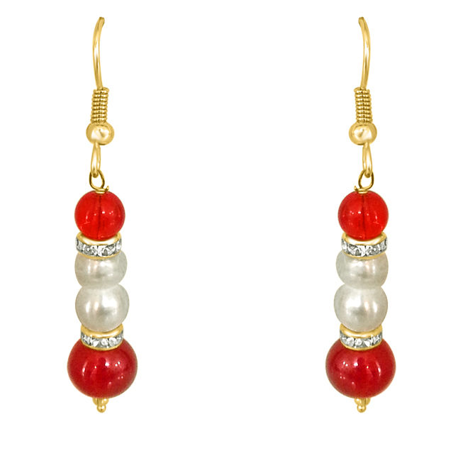 Real Pearl & Red Stone Earrings