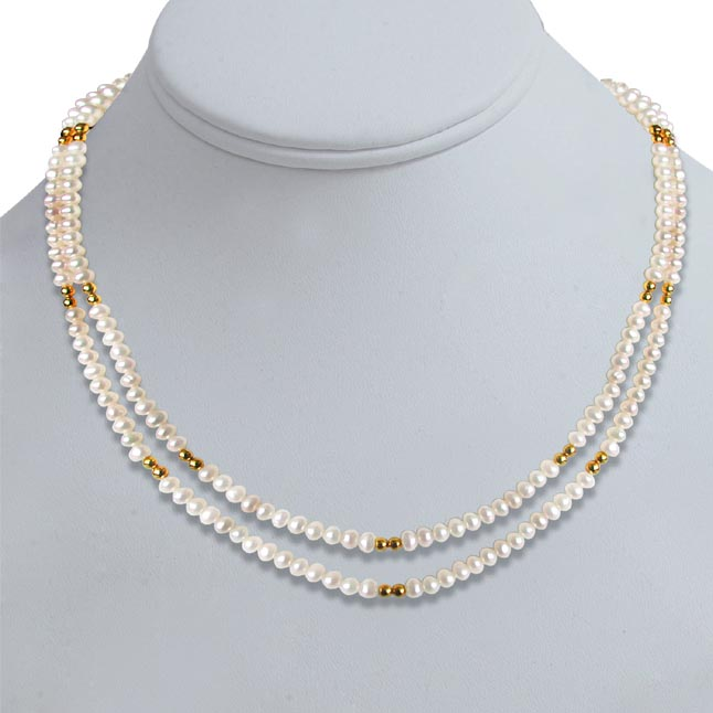 Real Pearl Glow -2 To 3 Line Necklace