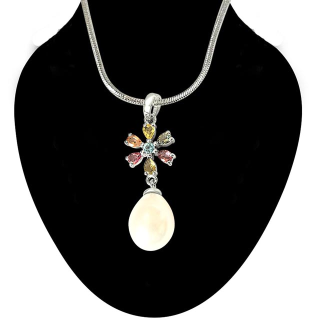 Real Pearl & Gemstone Pendants 18IN Chain -Designer Pendants