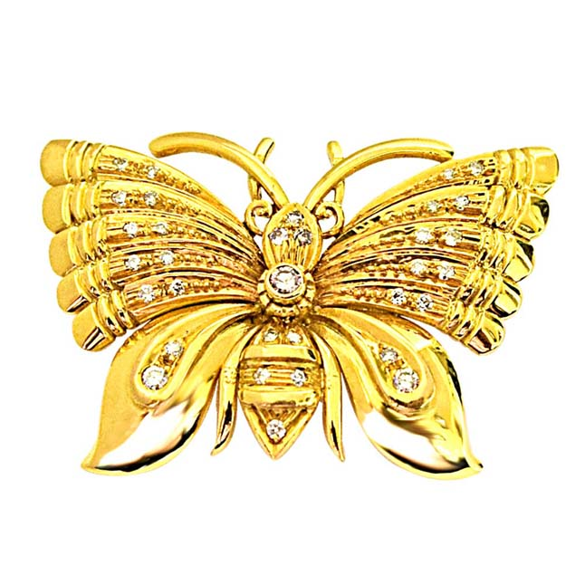 Real Diamond & Gold Butterfly Brooch for Engagement Wedding for Your Love -Diamond Brooches