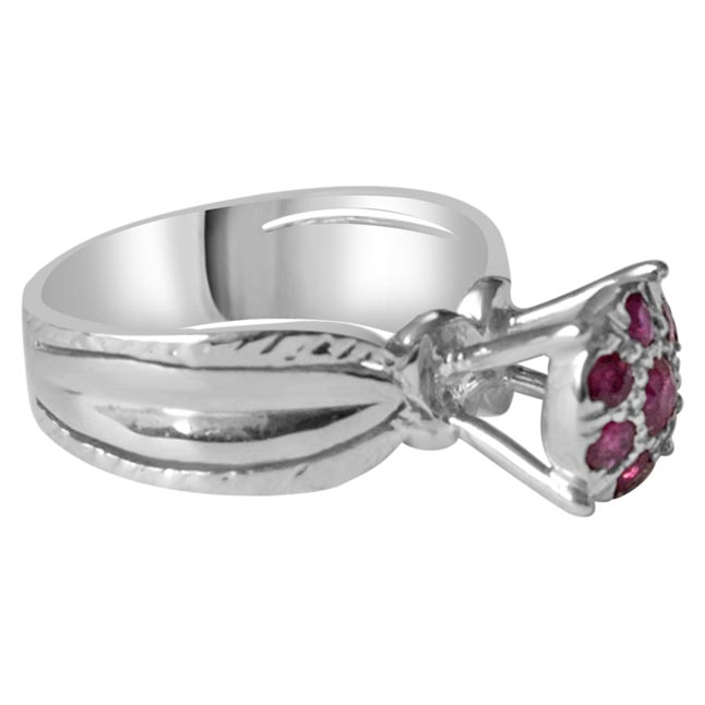 Real Red Ruby and 925 Silver Engagement Wedding Rings for your Love (GSR51)