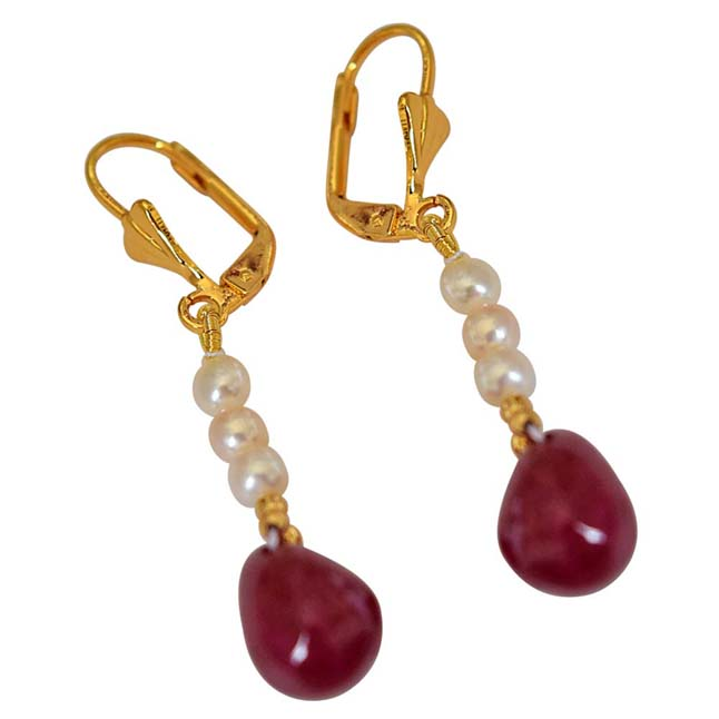 Real Red Ruby Drop & Real Freshwater Pearl Hanging Earrings