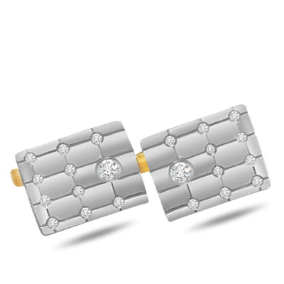 Real Reflections -0.28ct Diamond Gold Cufflinks -Cufflinks
