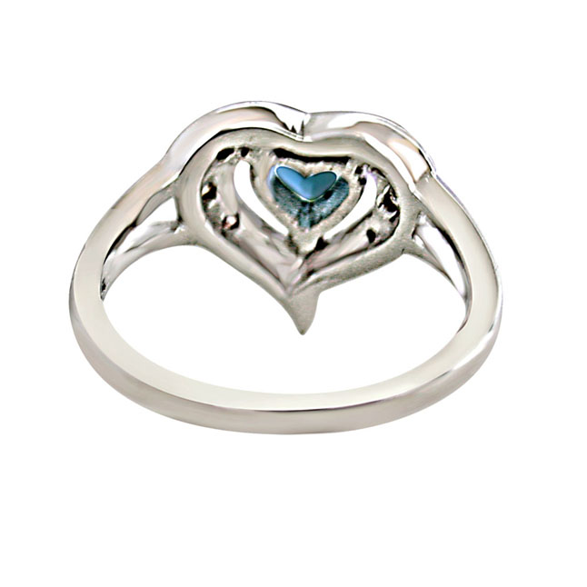 Real Diamond & Heart Shaped Blue Topaz rings Set in 925 Silver