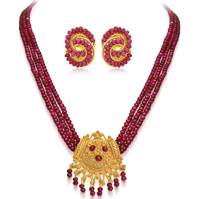 Real Ruby & Gold Plated Set -Pearl Set