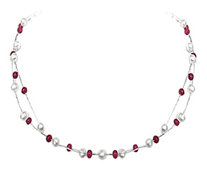 Real Ruby Embellishment -Ruby+Pearl