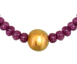 Real Engraved Ruby Beads Necklace -Single Line