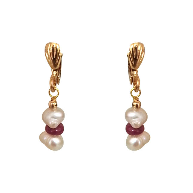 Real Ruby & Freshwater Pearl Necklace & Earrings Set -Pearl Set