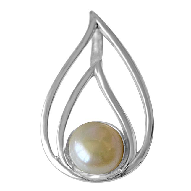 "Real Freshwater Pearl & Sterling Silver CurvaciousPendants with 18"" Chain -Pearl Silver Pendants"