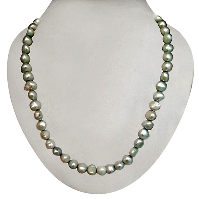 Real Green Coloured Single Line Necklace -Single Line