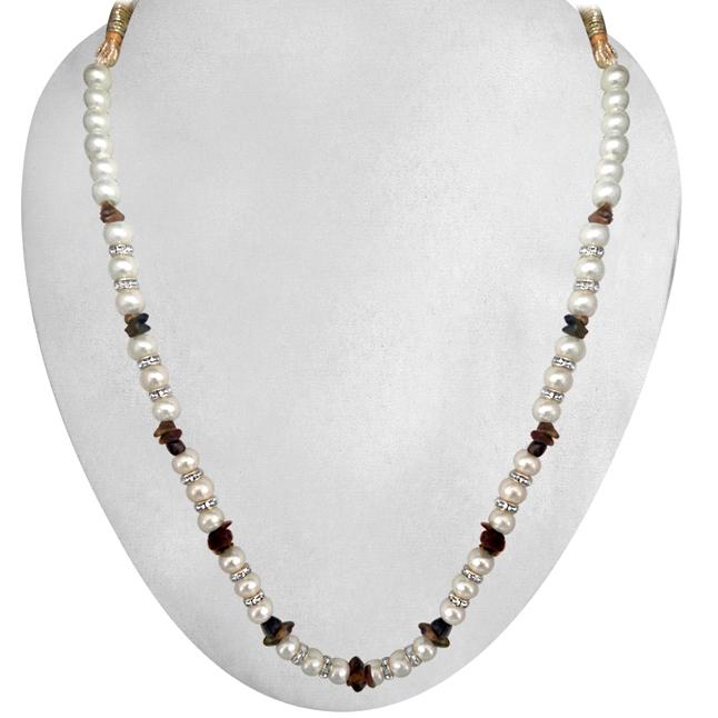 Real Uncut Tiger Eye beads & Shell Pearl Set