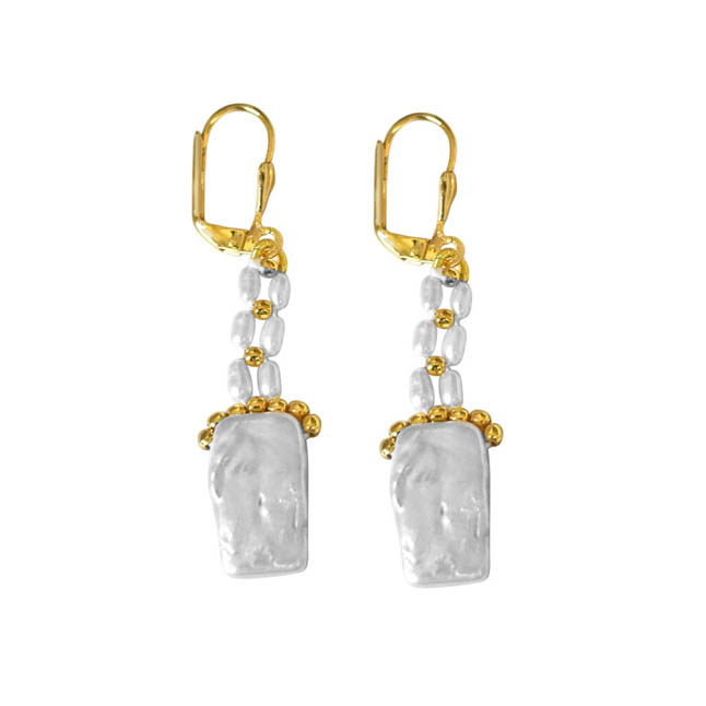 Rectangle & Round Shaped Pearl & Gold Plated beads Hanging Earrings