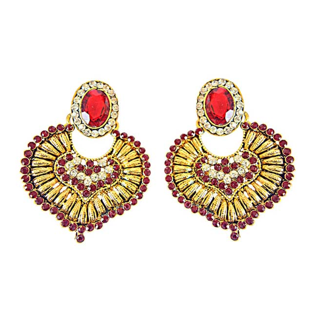 Red & White Colored Stone & Gold Plated Ch Bali Earrings