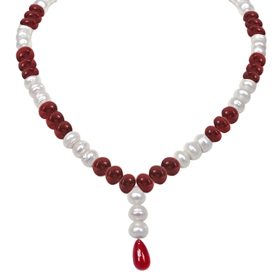 Red Beads & Freshwater Pearl Necklace