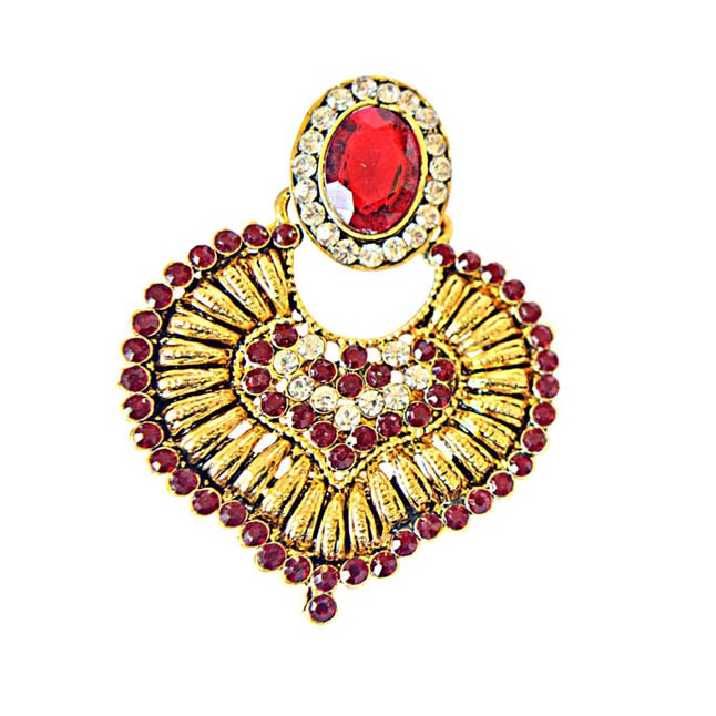 Red-White Colored Stone Gold-Plated Chandbali Earrings For Women