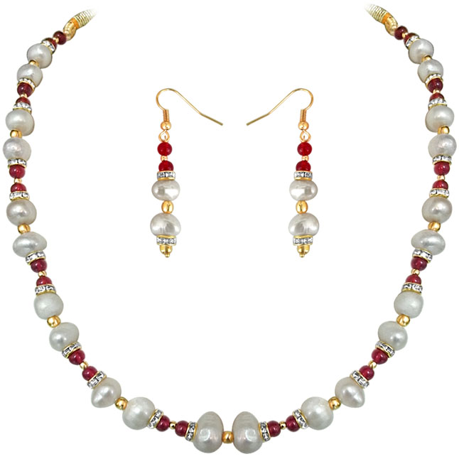 Red Rouge -Real Pearl & Colored Stone Set -Single Line