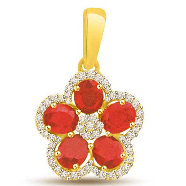 Red Ruby & Diamond Flower 18k Gold Pendants for My Love -Diamond -Ruby