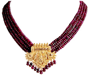 Red Ruby Necklace with Earrings -Pearl Set