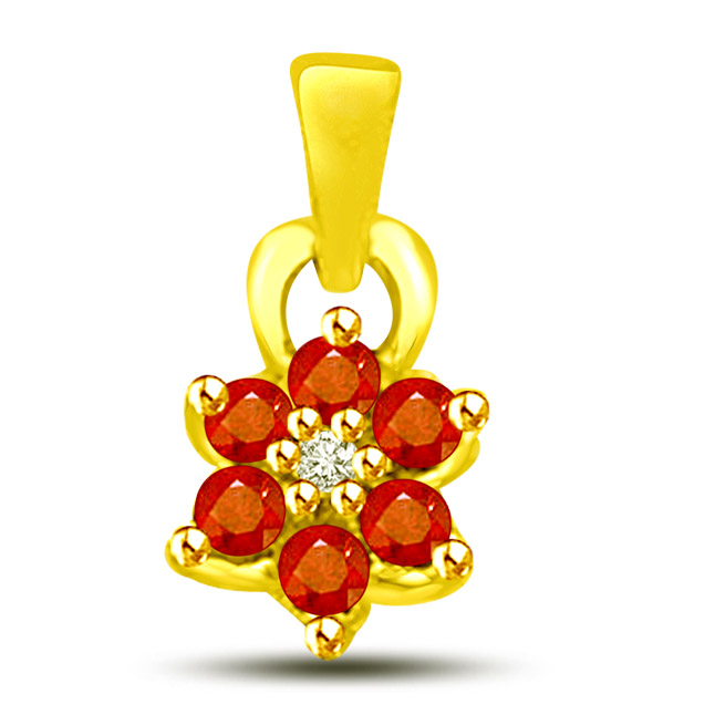 Red Seeds Of Passion -Flower Shape Pendants