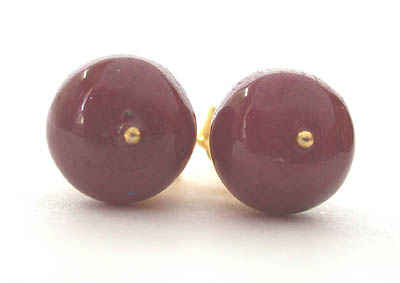 Refined Ruby - Real Ruby Beads & Gold Plated Silver Studs for Women (SE85)