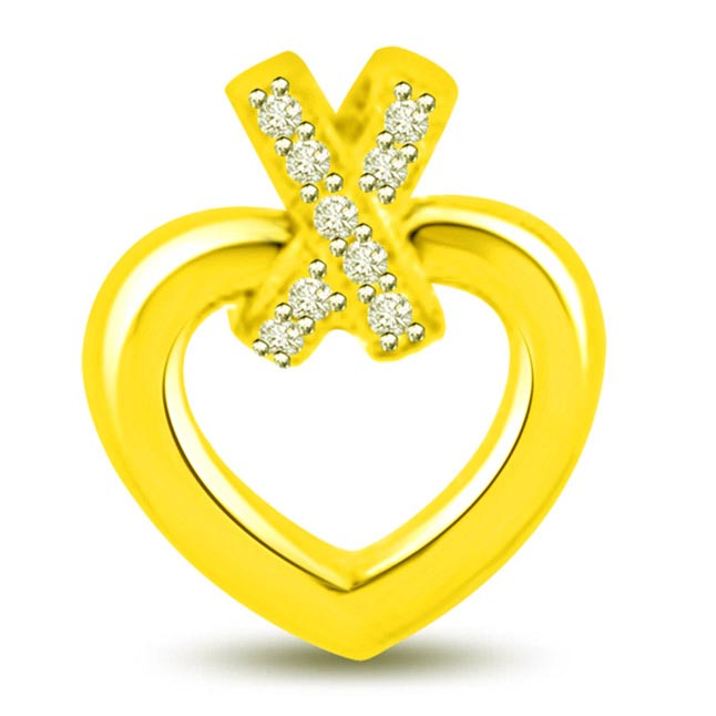 Ribbon Diamond Heart Pendants in 18k Yellow Gold