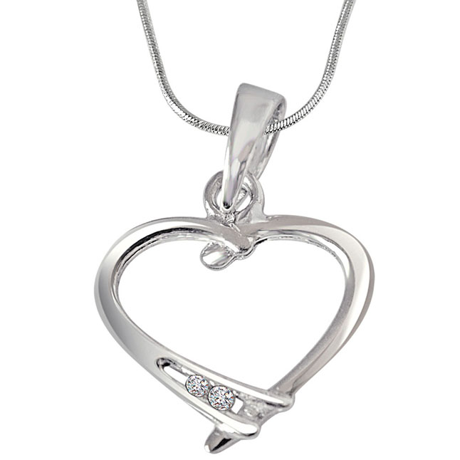 Ribbon Love - Real Diamond & Sterling Silver Pendant with 18 IN Chain