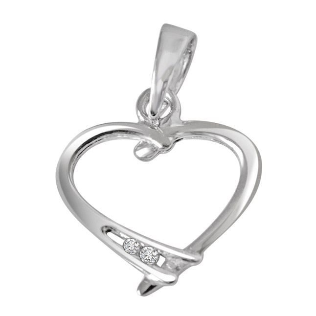 "Ribbon Love -Real Diamond & Sterling Silver Pendants with 18"" Chain"