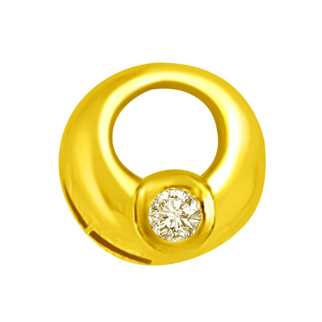 rings shaped 18kt Yellow Gold Pendants with Diamond -Solitaire