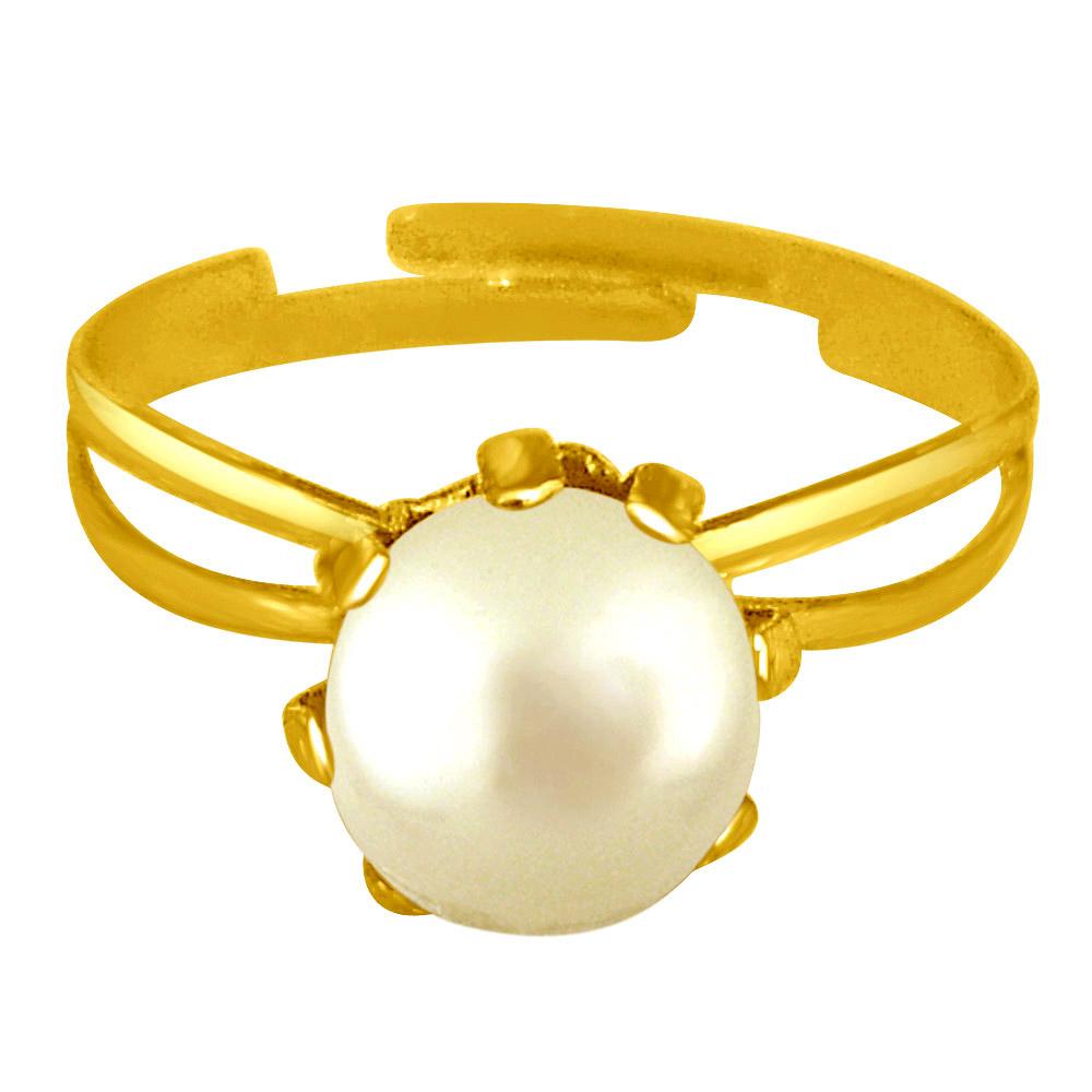 Simple White Real Pearl adjustable rings