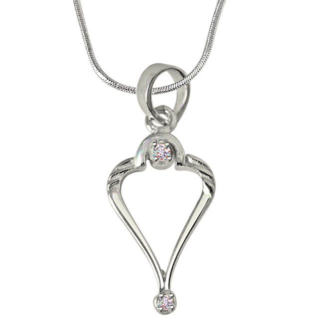 Rise with Grace - Real Diamond & Sterling Silver Pendant with 18 IN Chain