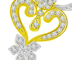Rising Sun Two Tone Diamond & Gold Flower Pendants