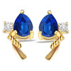 Rocking Ocean Star 0.06ct Fine Diamond & Sapphire Gold Earrings -Dia & Gemstone