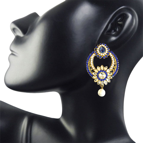 Round Shaped Floral Blue & White Coloured Stone, Shell Pearl & Gold Plated Ch Bali Earrings