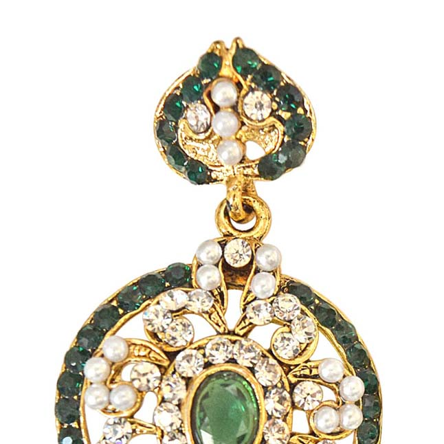 Round Shaped Green & White Coloured Stone, Shell Pearl & Gold Plated Dangling Earrings for Women