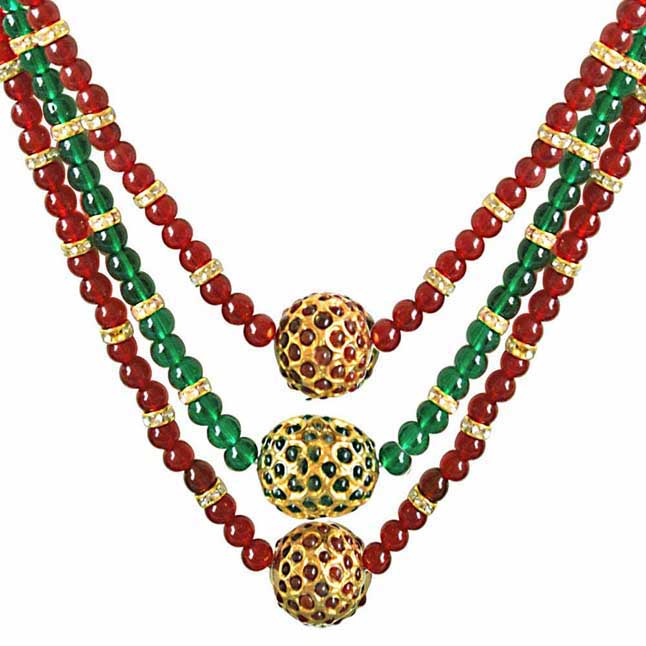 Round Kundan Ball & Red & Green Coloured Stone Necklace -Necklace