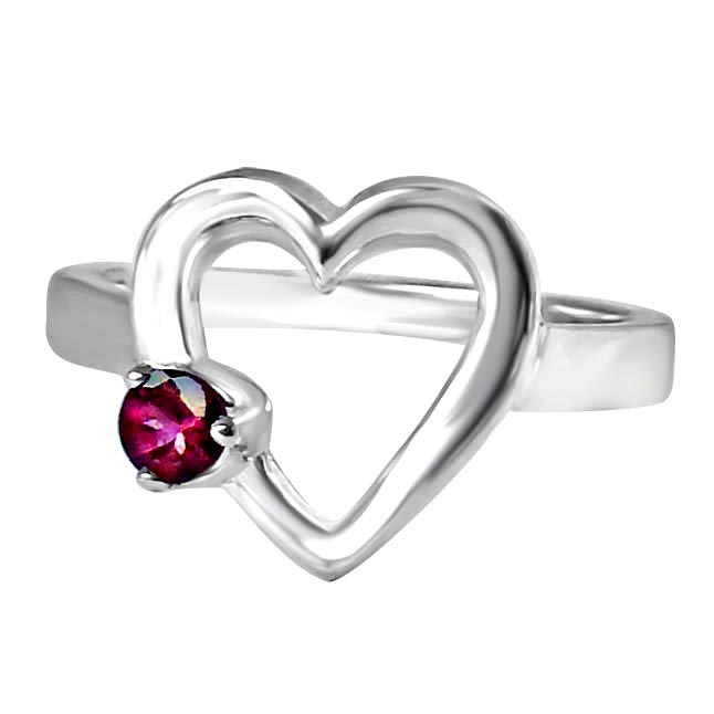 Round Pink Tourmaline set in Heart shape Sterling Silver gemstone Love Engagement rings
