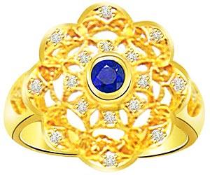 Round Sapphire 0.32 cts Flower Shape Diamond rings