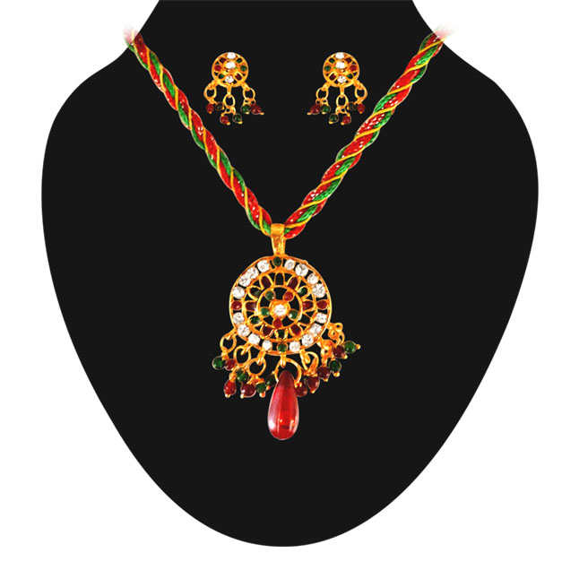 Round Shaped Coloured Stone & Gold Plated Set