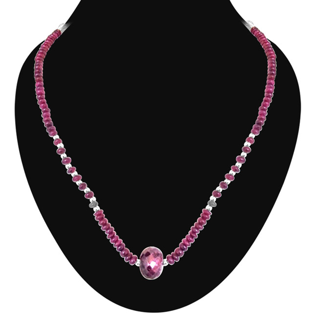 Royal Ruby Mystique -Single Line Ruby Necklace -Single Line