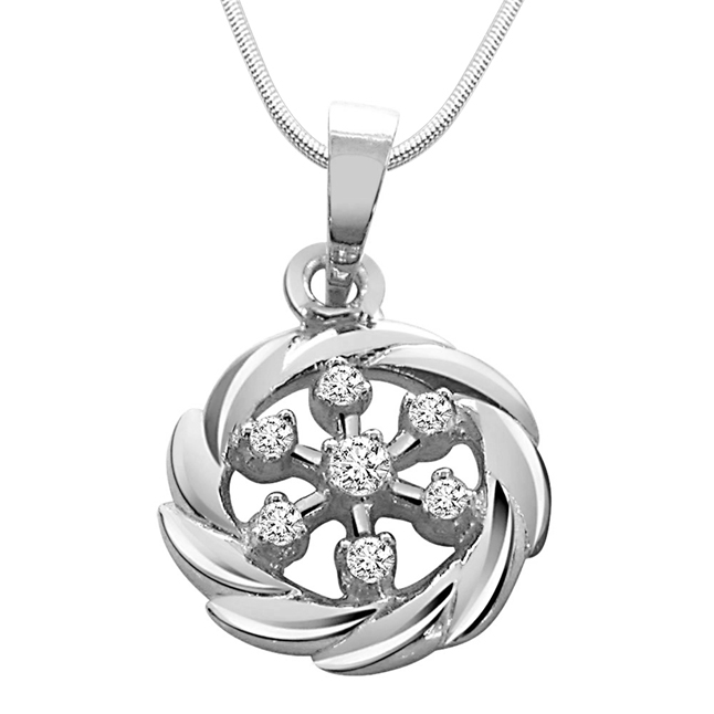"Royal Twist -Real Diamond & Sterling Silver Pendants with 18"" Chain"