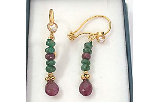 Ruby & Emerald Earrings -Pres.Stone Hanging Earrings