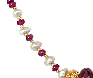 Real Ruby Beads & gold plated ball necklace -Single Line