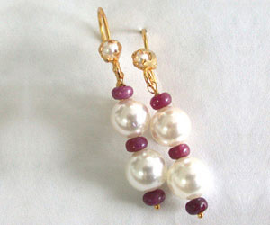 Real Ruby Beads & Shell Pearl Hanging Earrings for Women (RBER4)