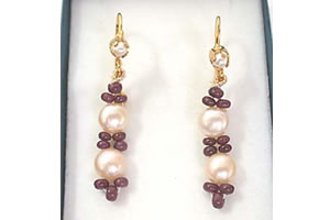 Ruby Beads & Peach Button Pearl Earrings