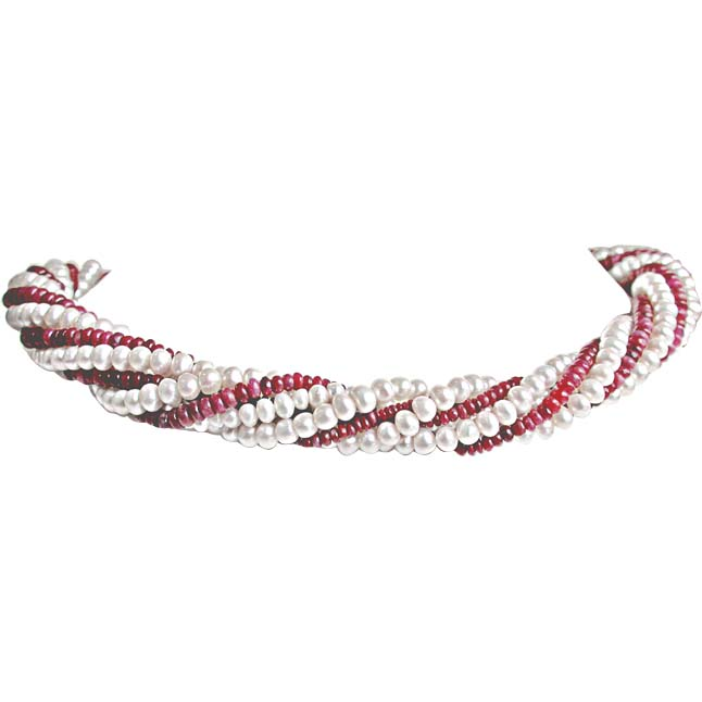 Ruby Choker Charm - Twisted Real Ruby & Freshwater Pearl Choker Necklace for Women (RBN2)