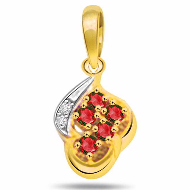 Ruby Diamond Splash Pendants -Flower Shape Pendants